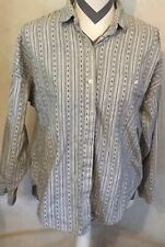 Large Parallel Lines Women's Gray White Striped Blouse Long Sleeve Button Up Top