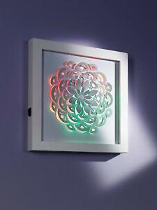 """LED-Wandbild ""Blume""Multicolor-Stimmungslicht weisses Metallbild LED Wanddeko"