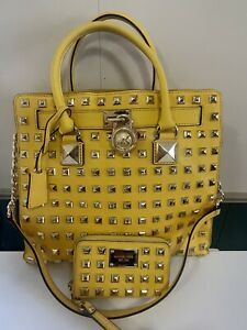 Michael Kors Hamilton Large Studded Handbag w/ Matching Wallet. SUNSHINE YELLOW.