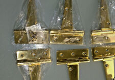 """6 POLISHED small hinges vintage aged style solid Brass DOOR BOX restoration 4"""" B"""