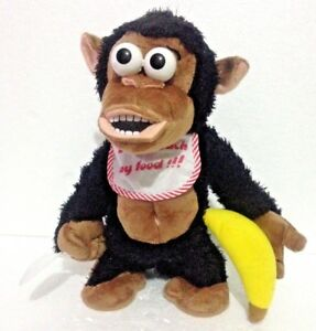 """CRAZY MONKEY INTERACTIVE SOFT TOY  """" Don't touch my Food"""" Funny Plush Chimpanzee"""