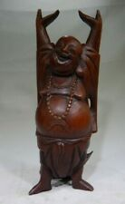 """Vintage Carved Wooden Buddha Laughing Hands Up Standing Buddha 10"""" Figure MT"""