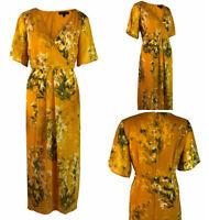 Dorothy Perkins Womens Mustard Floral Chiffon Curve Chiffon Occasion Dress 18-28