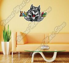 """Wolf Face Crayons Paint Brushes Gift Wall Sticker Room Interior Decor 25""""X18"""""""