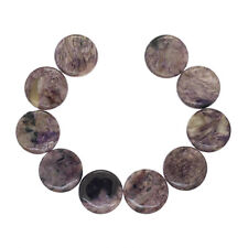 "10 Russian Charoite Flat Round Coin Beads ap. 18mm 7"" #86249"