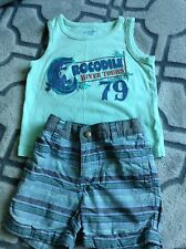 Cherokee 12-18 Month Blue Crocodile Mismatch Brand  Outfit Tank Top Shorts