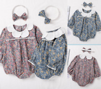 Baby Floral Printed Kids Tops+Headband Photoshoot Prop Romper Girls Outfits