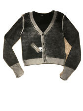 womans grey and black cropped cardigan