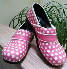 Sanita Clogs Professional Dottie Patent Leather Pink Polka Dot #346606 - Size 41