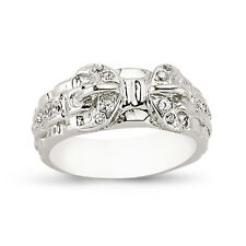 STERLING SILVER SOLID CUBIC ZIRCONIA CZ SHOT DOUBLE BUCKLE BELT RING BAND BOXED