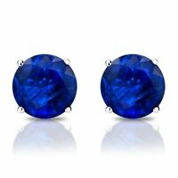 Estate Crystal Cut Blue Sapphire Round Stud Sterling Silver Earrings