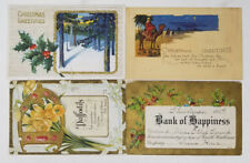 Lot of 4 Antique Greetings Postcards 1910s Writing No Stamps