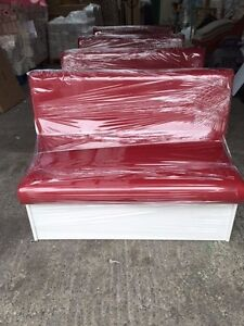 Restaurant Bar, Cafe, Home - Red Plain Booths with white kick board
