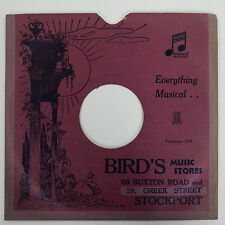 "78rpm 10"" card gramophone record sleeve / cover BIRD`S , STOCKPORT"