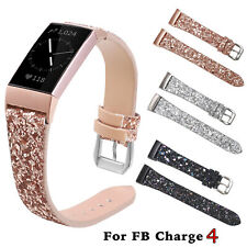 Glitter Band for Fitbit Charge 4 Smart Watch Bracelet Christmas PU Leather Strap