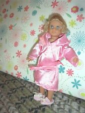 Fit small 6.5 inch Mini Dolls Fancy pink satin bath robe  and slippers shoes