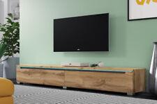 SWIFT Meuble tv suspendu / à poser 140 180 cm beige blanc laqué chêne wotan LED