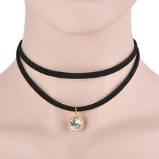 New Black Faux Leather Cord Choker Charm Necklace Crystal Pendant Retro Hippy