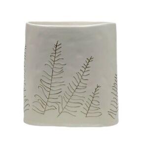 West Elm dbO Home Botanical Vase White Earthenware Pressed Leaves Boho Decor