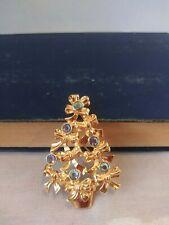 Avon Christmas Tree Pin Brooch Iridescent Rhinestones & Bows GoldTone Vintage