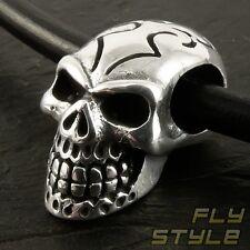 Totenkopf Tattoo Tribal Anhänger Edelstahl silber herren biker harley rock skull
