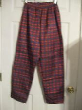 pajama pants plaid blue red large