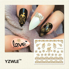 Nagelsticker  Fingernägel Aufkleber Tattoo Nail Art Nageldesign gold 6016