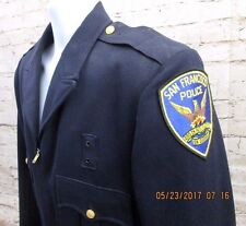 Vtg. San Francisco Ca. blue Police Coat Jacket M/L S.F.P.D. w/ Patches 100% Wool