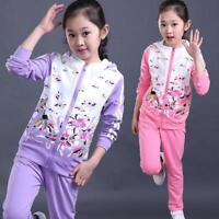 3-15 Years Kids Clothing Baby Girls Clothes Jacket Pants Tracksuit Sport Suit