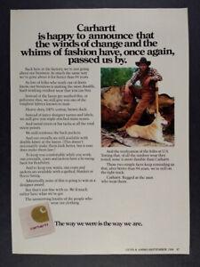 1984 Carhartt Brown Duck Outdoor Wear vintage print Ad