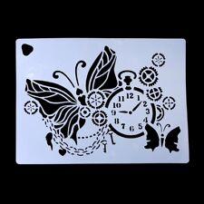 Clock Butterfly Spray Cake Mold Strew Pad Duster Fondant Art Stencil Decor