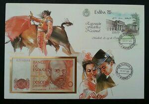 Spain - Spanish Bullfighting 1985 Culture Art FDC (banknote cover) *Rare