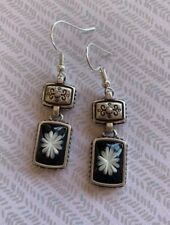 Brighton WATER LILY Black & White Silver Scrollwork Excellent Custom Earrings