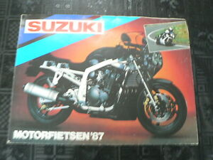 S332A SUZUKI BROCHURE PROSPEKT FOLDER ALL MODELS 1987 DUTCH 8 PAGES POSTER