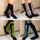 Women's Girl Punk Gothic Black White Canvas Boots Knee High Sports shoes Sneake