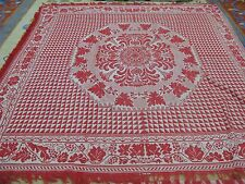 "Antique  Red & White Jacquard Coverlet American  78"" x 80"" Americana Textile"