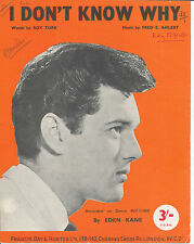 I Don't Know Why - Eden Kane - 1962 Sheet Music
