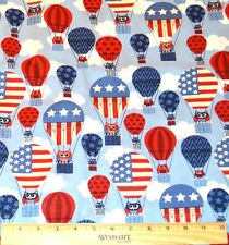 FOURTH OF JULY FABRIC! 1/2 YARD 4 QUILTING! RED~WHITE~BLUE OWLS~HOT AIR BALLOONS