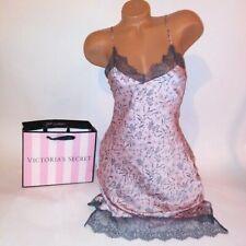 Victoria Secret Lingerie Chemise Slip Babydoll XS Pink Gray Floral Lace Trim