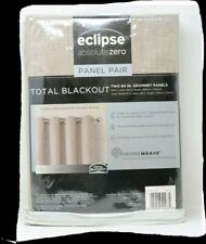 """New Eclipse Kimball Absolute Zero Blackout Curtain Panel Pair 52"""" X 84"""" Natural"""