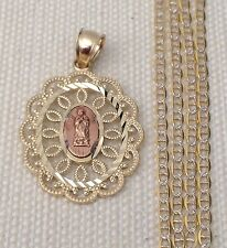 10k Yellow Rose Gold Religious Virgin Mary Pendant Gucci chain 18 INcH Unisex