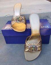 """ENZO ANGIOLINI"" Women's Shoes Kitten Heel Bronze w/ Sequins & Beaded Detail 7 M"