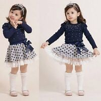 2PCS Toddler Kids Baby Girls Outfits Clothes T-shirt Tops+Tutu Skirt Dress Sets