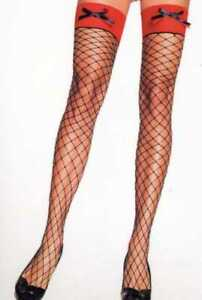 Leg Avenue 9064 Spandex Diamond Net Fishnet Thigh Highs with Contrast Top & Bows