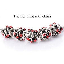 5pcs Big Hole White Gold Filled European Beads Fit Charm Bracelet Lot