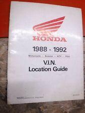 1988-1992 Honda Motorcycle Scooter Atv Pilot V.I.N. Location Guide Manual