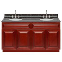 "60"" Vanity Cabinet Cherryville with Granite Top Tan Brown and Faucet LB7B"