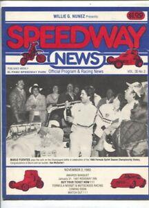 El Paso Speedway Park Auto Race Program 11/2/1980-sprint & stock car pix-race...