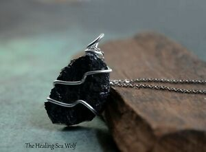 Black Tourmaline + Sterling Silver Pendant / Necklace for Protection Grounding