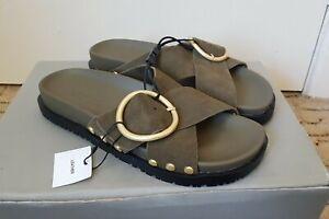green khaki leather flat sandals ZARA size 38